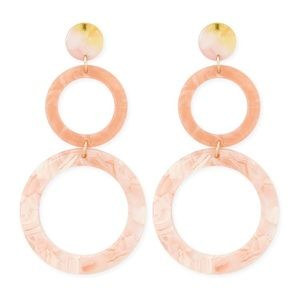 Pearlized Acrylic tiered dangle round hoop earring